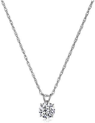 Swarovski 10K White Gold Solitaire Pendant Necklace set with Round Cut Zirconia (1 cttw)