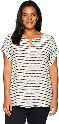 Calvin Klein Women's Plus Size Printed TOP with BAR Hardware