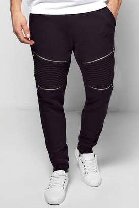 boohoo Skinny Fit Biker Joggers With Rips And Zips