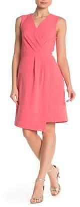 Sharagano Pleated Sleeveless Faux Wrap Dress