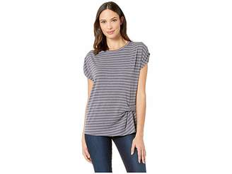 Bobeau B Collection by Iva Short Sleeve Pleated Side Tee