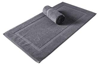"+Hotel by K-bros&Co SALBAKOS Luxury Hotel and Spa 100% Turkish Cotton Banded Panel Bath Mat Set 900gsm! 20""x34"" (Gray"