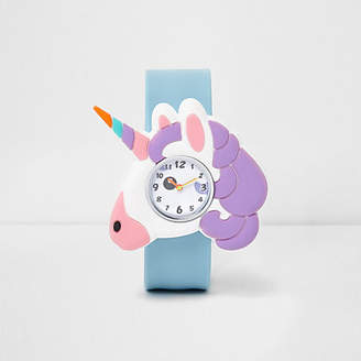 River Island Girls Blue unicorn snap on watch