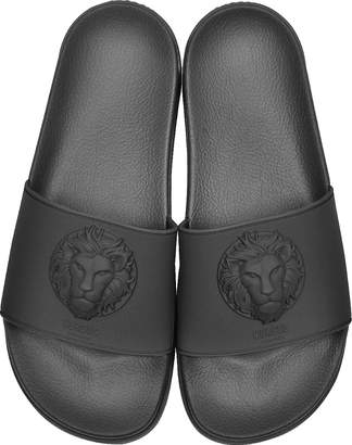 Versace Versus Lion Head Black Rubber Men's Slide Sandals