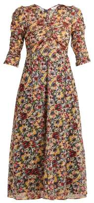 Masscob Mina Rose Print Cotton Midi Dress - Womens - Multi