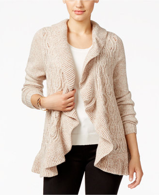 Karen Scott Ruffled Marled Cabled Cardigan, Only at Macy's $49.50 thestylecure.com