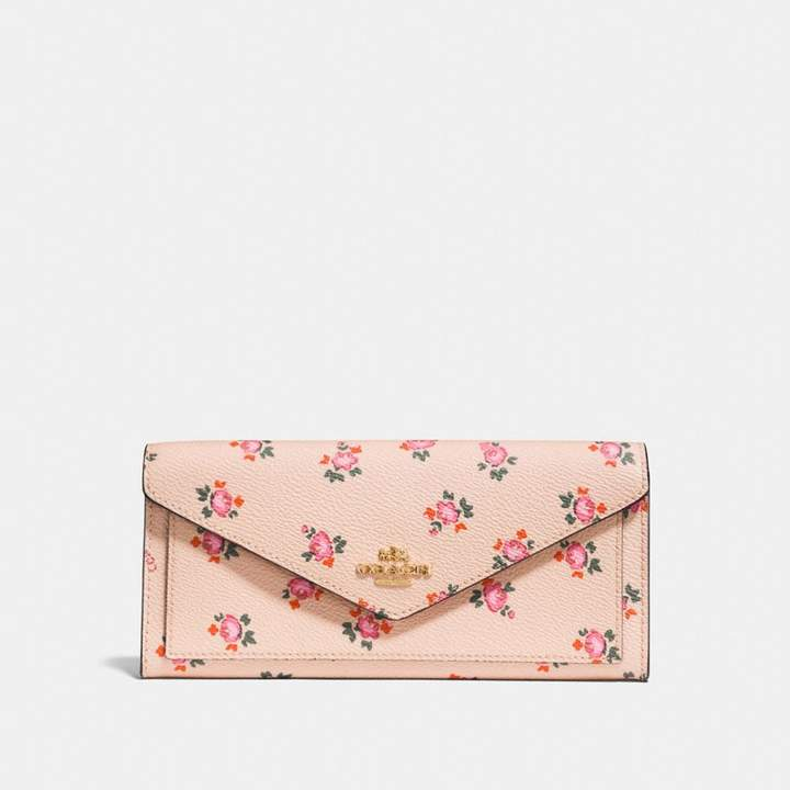 Coach Soft Wallet With Floral Bloom Print - BEECHWOOD FLORAL BLOOM/LIGHT GOLD - STYLE
