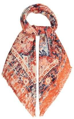 Acne Studios Tapestry Print Silk Scarf - Womens - Burgundy