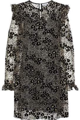 Opening Ceremony Bead-Embellished Flocked Metallic Open-Knit Mini Dress
