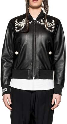 Fendi Black Leather Bomber