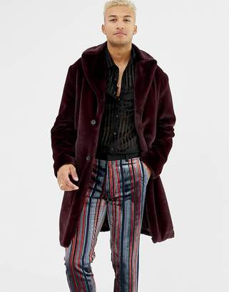 Asos DESIGN longline overcoat in faux fur
