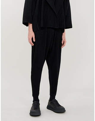 Issey Miyake Homme Plisse Dropped-crotch regular-fit pleated-crepe trousers