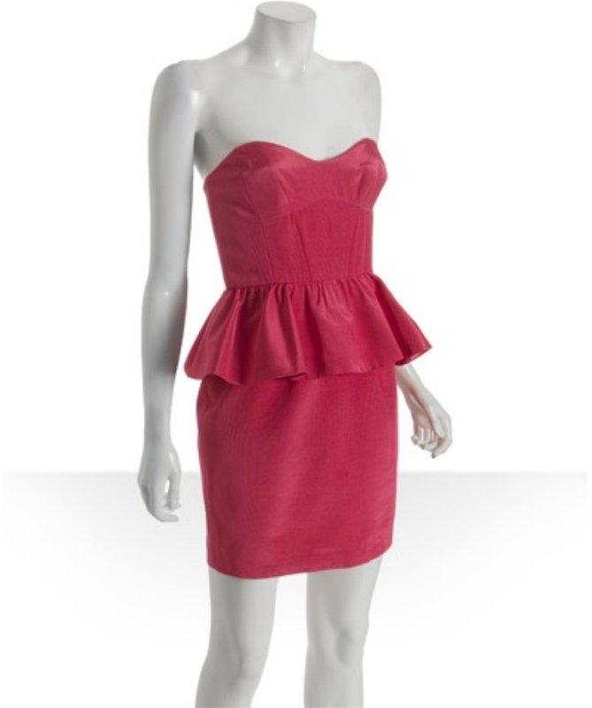 A.B.S. by Allen Schwartz carnation sateen faille peplum strapless dress