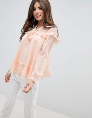 Asos DESIGN Ruffle Blouse With Pussybow