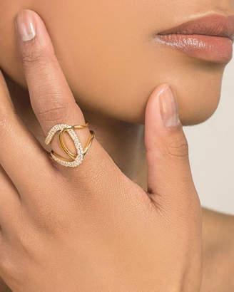Lana Mega Flawless Illuminating 14k Gold Diamond Interlock Ring, Size 7