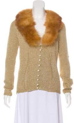 Blumarine Fur-Trimmed Metallic Cardigan