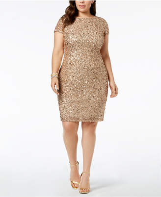 Adrianna Papell Plus-Size Sequin-Embellished Sheath Dress