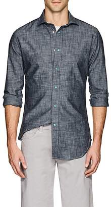 Bolzonella 1934 Men's Snap-Detailed Cotton Chambray Shirt