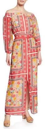 LAIA LABEL Dea Printed Off-Shoulder Maxi Dress