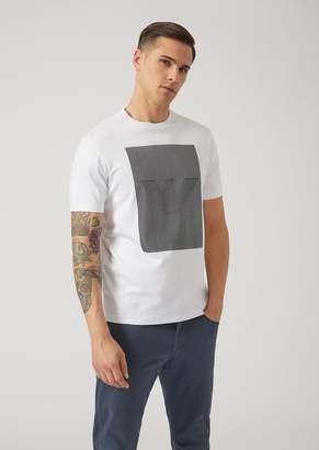 Emporio Armani T-Shirt In Cotton Interlock With Optical Logo Print