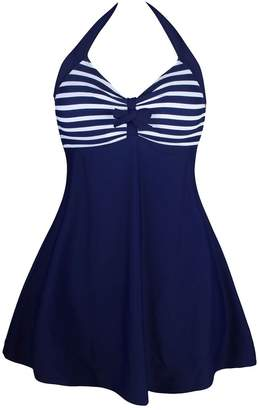 a2aed22cfef6f at Amazon Canada · Lovingin Women s Plus Size Swimwear Elegant One Piece  Swimdress Long Torso Swimsuits FBA