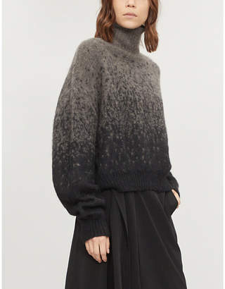 Isabel Benenato Faded-pattern mohair and alpaca-blend turtleneck jumper
