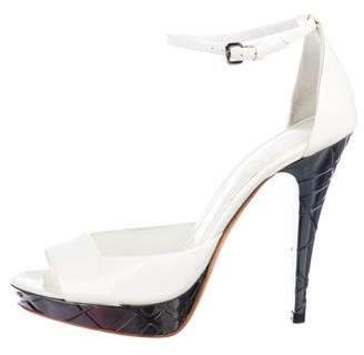 Burberry Patent Leather Peep-Toe Sandals
