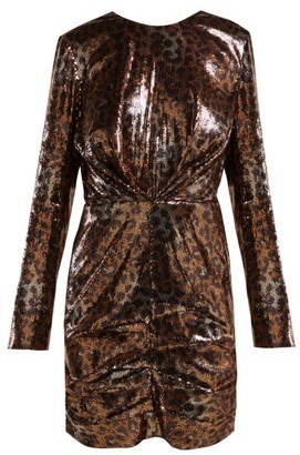 MSGM Leopard Print Sequinned Mini Dress - Womens - Black Gold