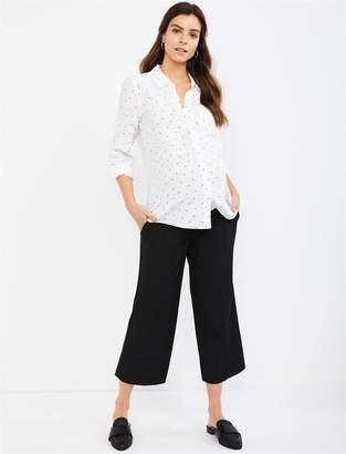 fd2454e9df2029 A Pea in the Pod Under Belly Bi-stretch Suiting Wide Leg Maternity Crop  Pants