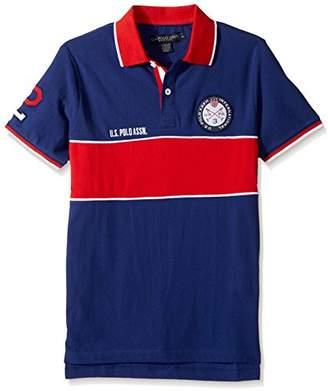 U.S. Polo Assn. Men's Slim Fit Color Block Short Sleeve Pique Polo Shirt
