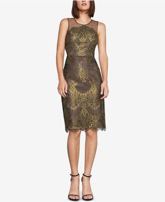 BCBGMAXAZRIA Metallic Lace Sheath Dress