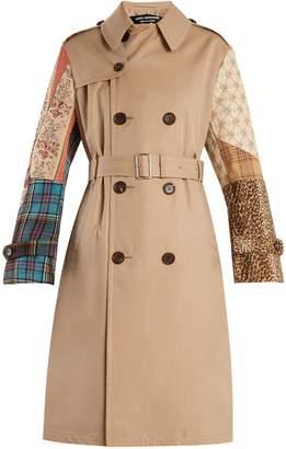 Junya Watanabe Contrast-sleeve cotton-garbardine trench coat