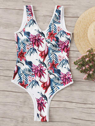 0515d151be Shein Random Leaf Print Low Back One Piece Swimsuit