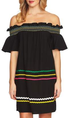 Cynthia Steffe CeCe by Smocked Rickrack Off the Shoulder Dress
