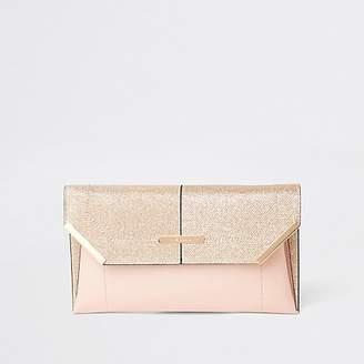 River Island Gold glitter envelope clutch bag
