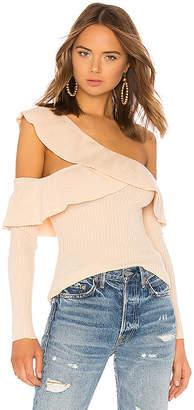 Tularosa Ruffle Cut Out Sweater