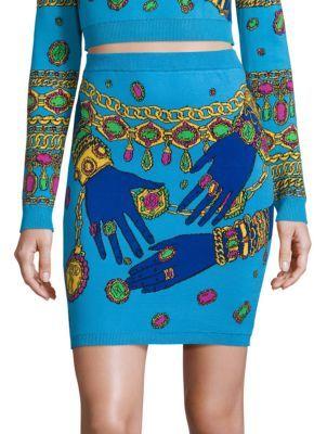 Moschino Hand-Knit Printed Skirt