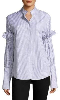 You Change the World Striped Cotton Button-Down Shirt