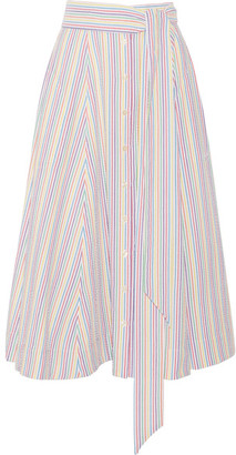 Lisa Marie Fernandez - Striped Seersucker Midi Skirt - White $465 thestylecure.com