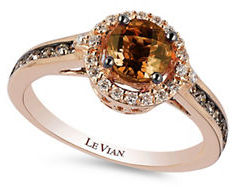 Levian Chocolatier Collection Caramel Quartz and Chocolate and White Diamond Ring, 0.42K $1,875 thestylecure.com
