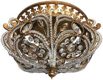 One Kings Lane Vintage Crystal Crown Flush Light - C the Light Interiors