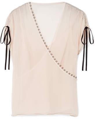 Jason Wu Embellished Crinkled Silk-crepon Blouse - Pastel pink