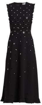 RED Valentino Crystal Studded A-Line Midi Dress