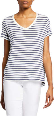 Majestic Soft Touch Striped V-Neck Tee w/ Back Pleat