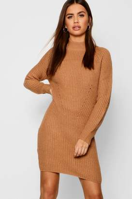boohoo Raglan Sleeve Knitted Dress