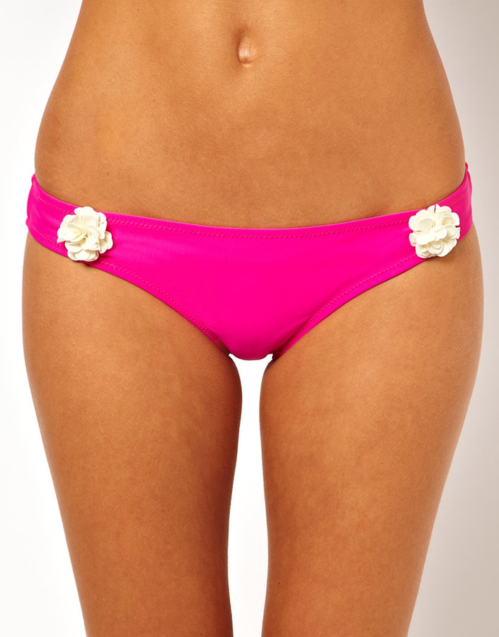 South Beach Bikini Bottom With Contast Flower