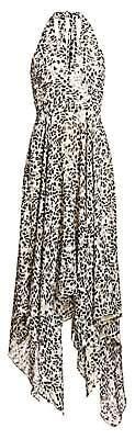 Halston Women's Sleeveless Lurex-Striped Print Handkerchief Dress - Size 0