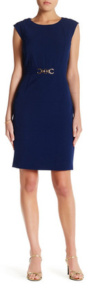 Tahari Cap Sleeve Belted Dress $128 thestylecure.com