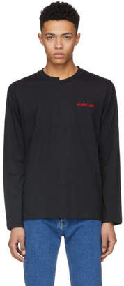 Helmut Lang Black Long Sleeve Logo Cut Neck T-Shirt