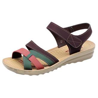 5fe376738f HHmei Women Ladies Summer Leather Sandals, Wedges Comfort Soft Bottom Wedge  Casual Lazy Shoes Plus